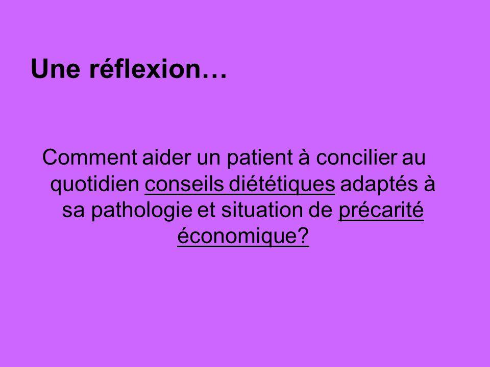 Une réflexion… Comment aider un patient à concilier au quotidien conseils diététiques adaptés à sa pathologie et situation de précarité économique