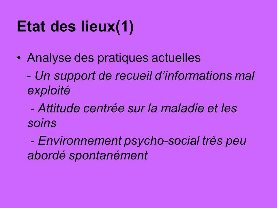 Etat des lieux(1) Analyse des pratiques actuelles