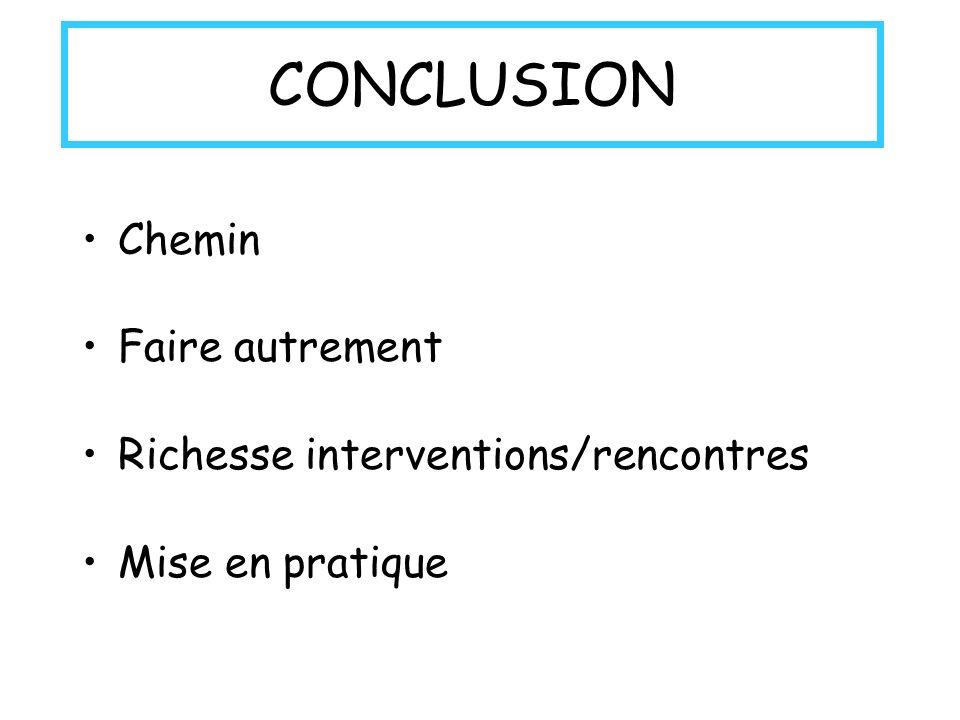 CONCLUSION Chemin Faire autrement Richesse interventions/rencontres