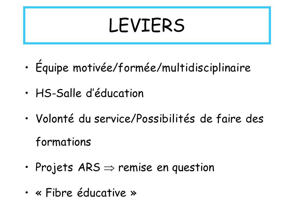 LEVIERS Équipe motivée/formée/multidisciplinaire HS-Salle d'éducation