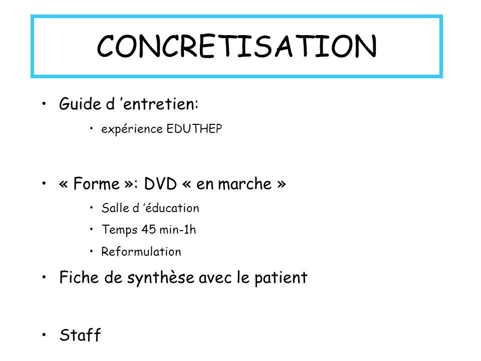 CONCRETISATION Guide d 'entretien: « Forme »: DVD « en marche »