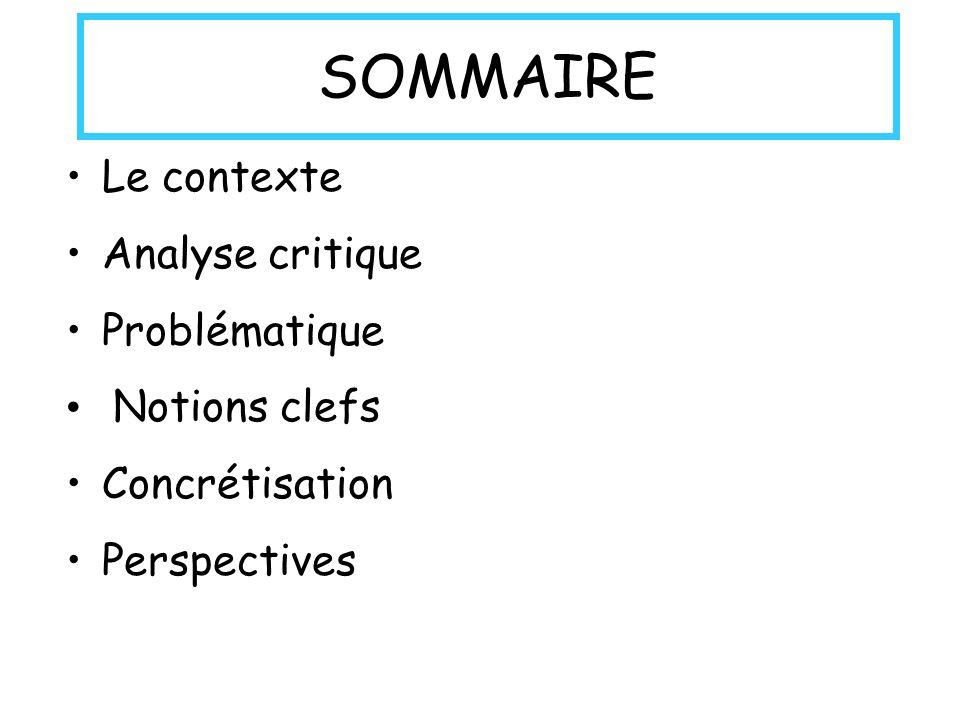 SOMMAIRE Le contexte Analyse critique Problématique Notions clefs