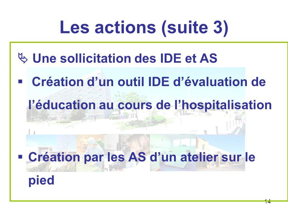 Les actions (suite 3)  Une sollicitation des IDE et AS