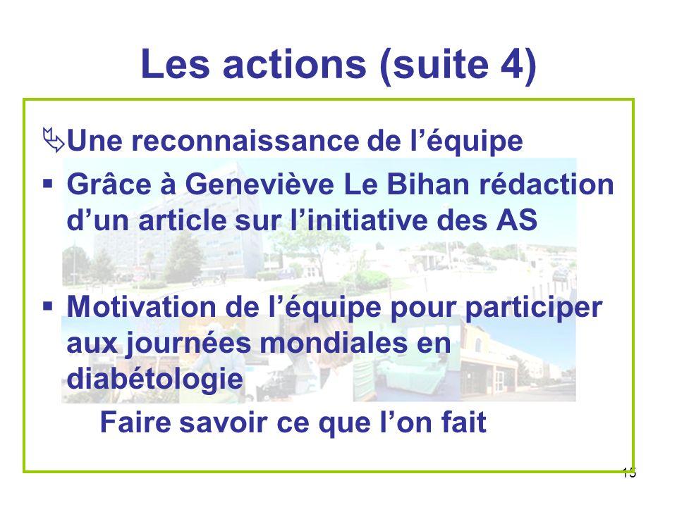 Les actions (suite 4) Une reconnaissance de l'équipe