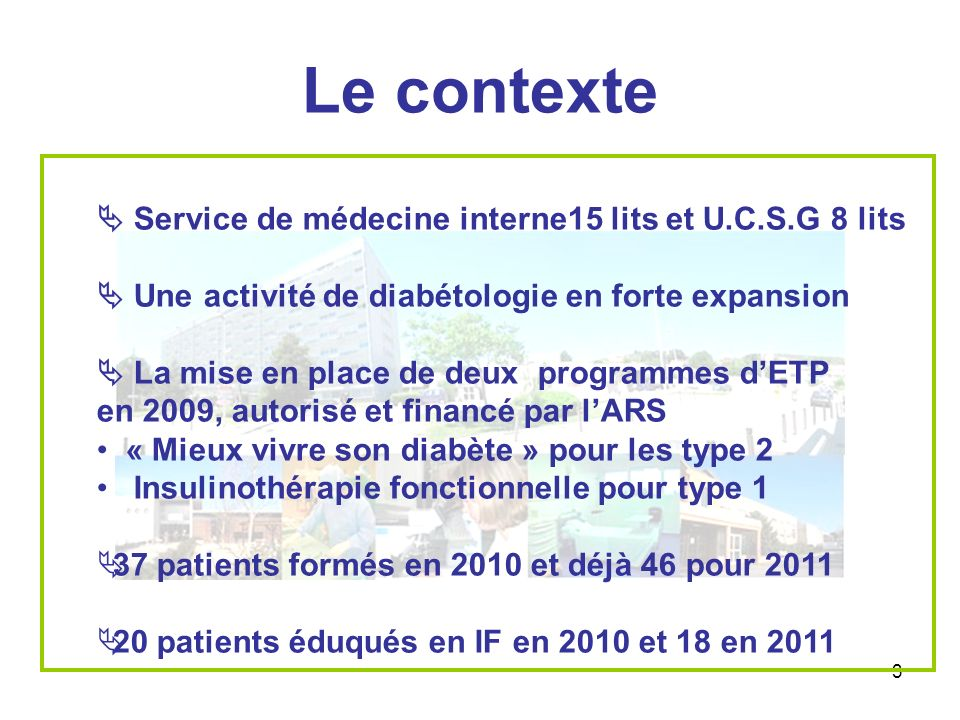 Le contexte  Service de médecine interne15 lits et U.C.S.G 8 lits