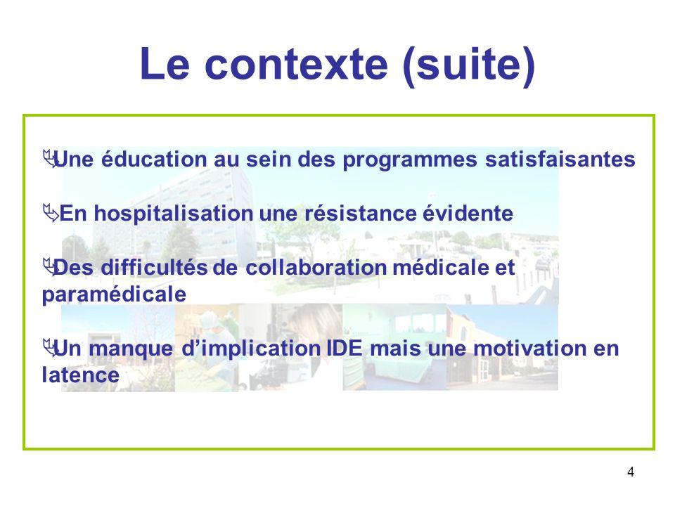 Le contexte (suite) Une éducation au sein des programmes satisfaisantes. En hospitalisation une résistance évidente.