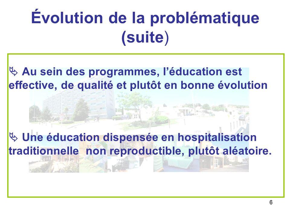 Évolution de la problématique (suite)