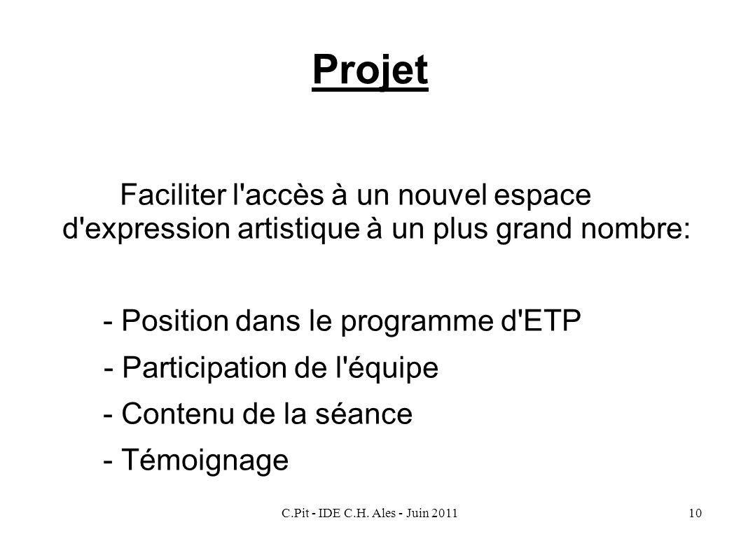 Projet Faciliter l accès à un nouvel espace d expression artistique à un plus grand nombre: - Position dans le programme d ETP.