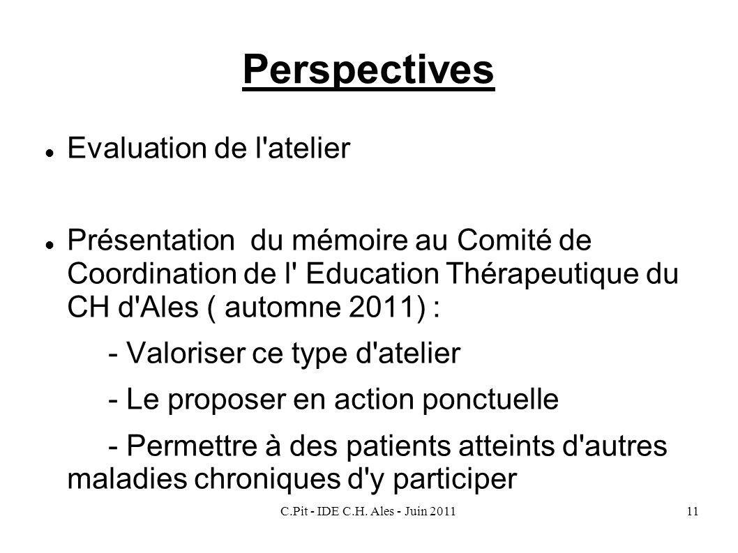Perspectives Evaluation de l atelier