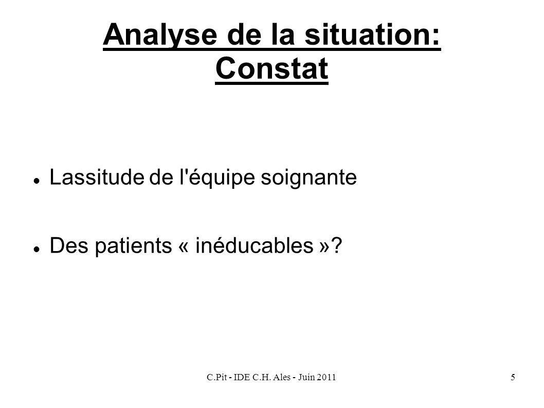 Analyse de la situation: Constat