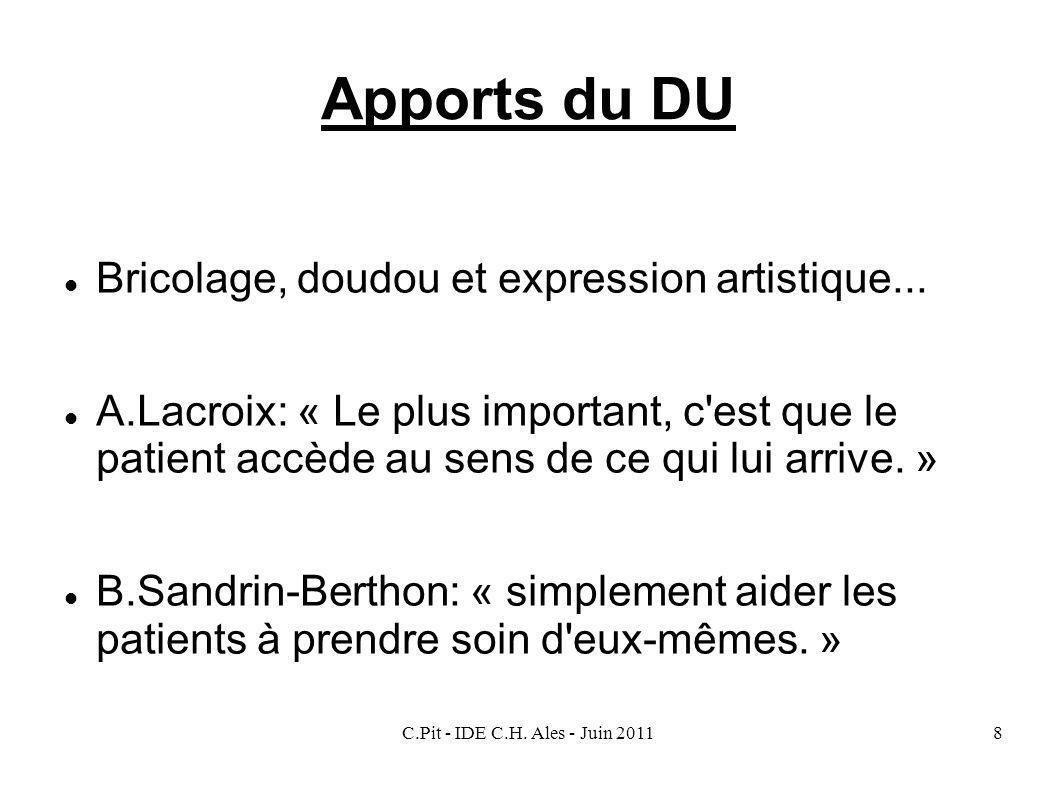Apports du DU Bricolage, doudou et expression artistique...
