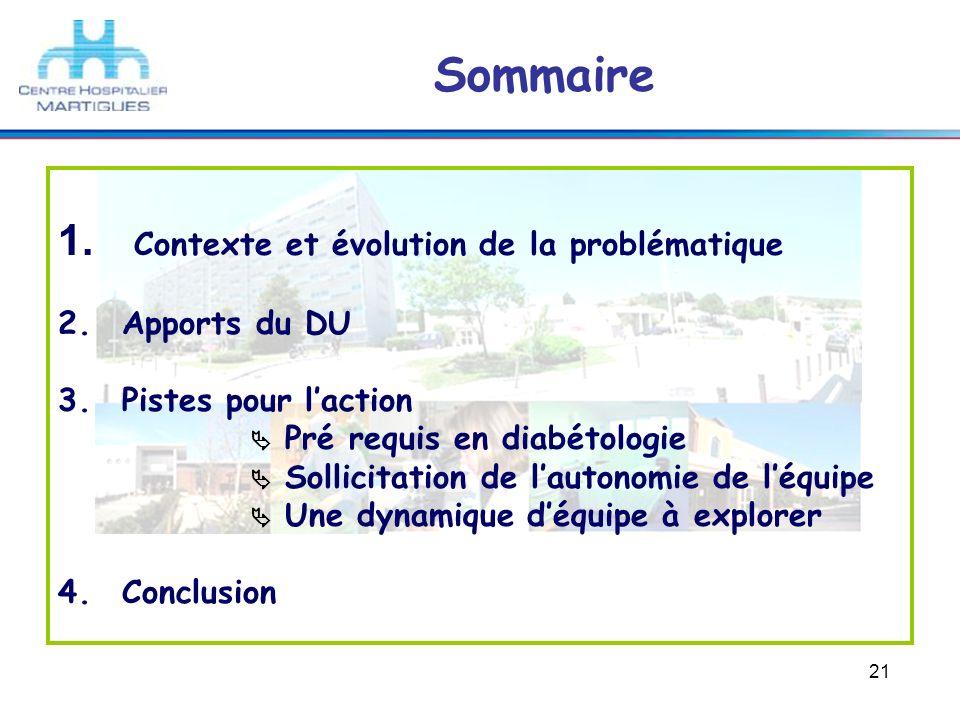 Sommaire Contexte et évolution de la problématique Apports du DU