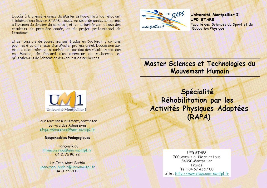Spécialité Réhabilitation par les Activités Physiques Adaptées (RAPA)