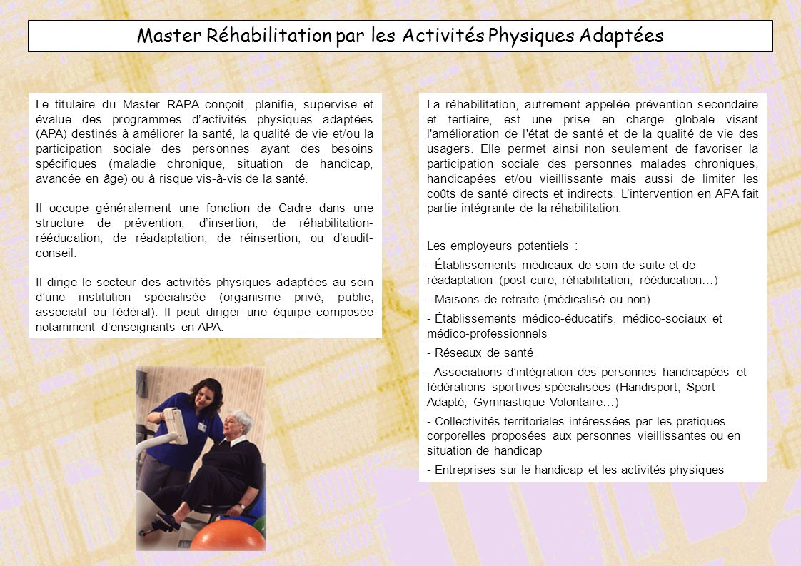 Master Réhabilitation par les Activités Physiques Adaptées