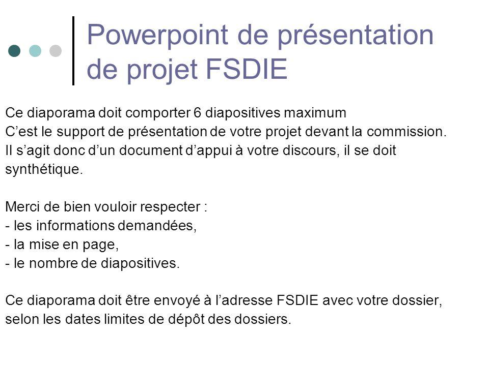Powerpoint de présentation de projet FSDIE
