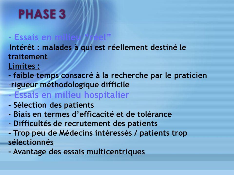 PHASE 3 - Essais en milieu réel Essais en milieu hospitalier