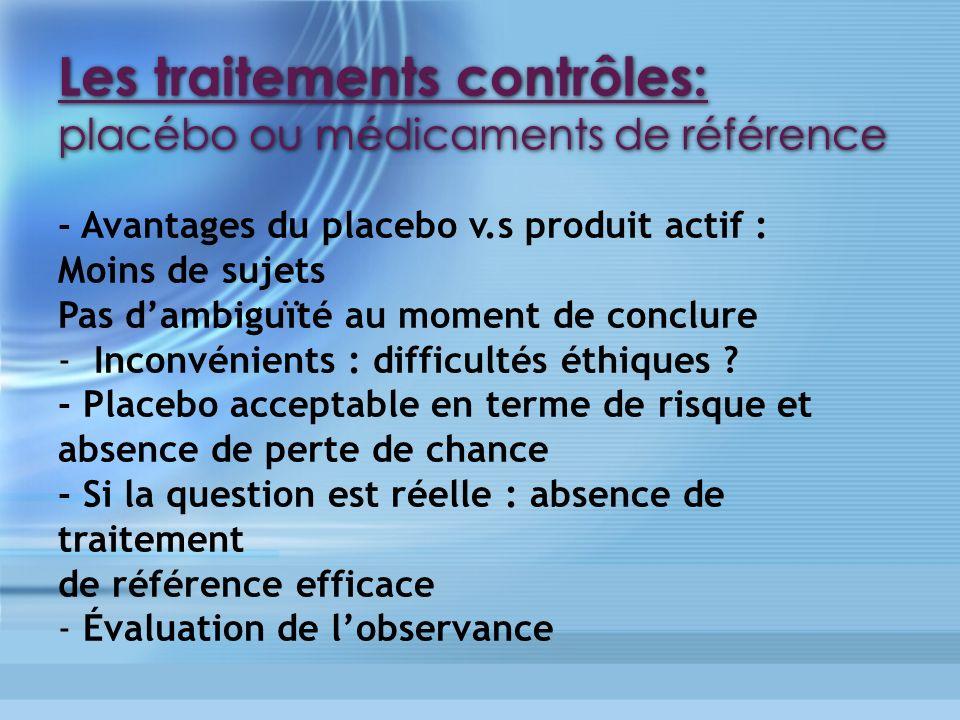 Les traitements contrôles: placébo ou médicaments de référence