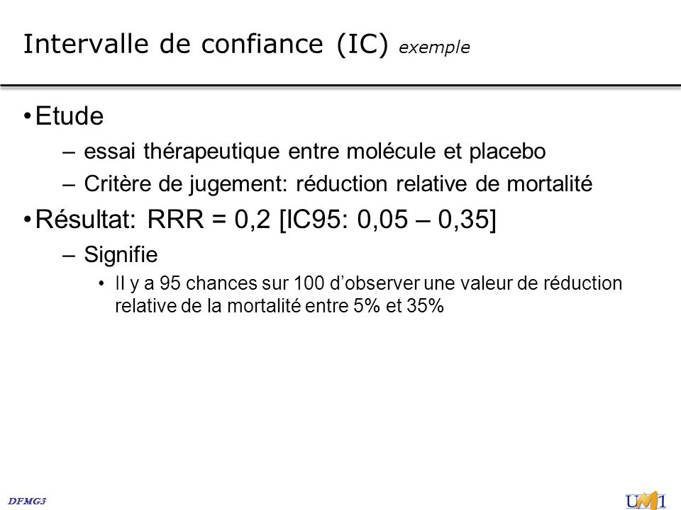 Intervalle de confiance (IC) exemple
