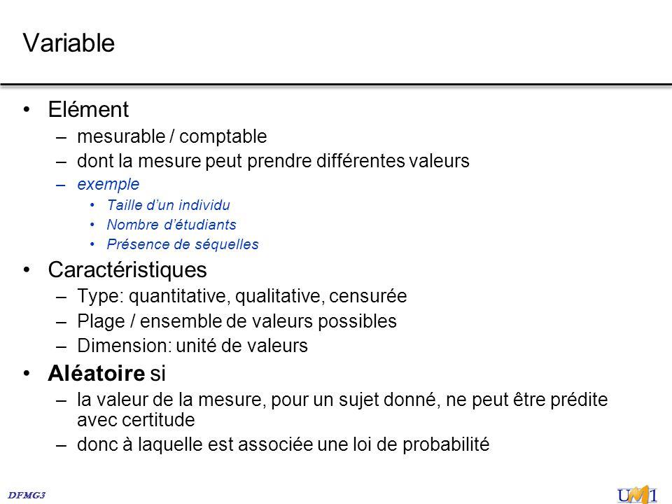 Variable Elément Caractéristiques Aléatoire si mesurable / comptable