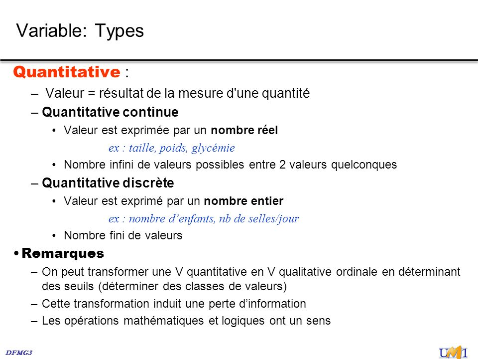 Variable: Types Quantitative :