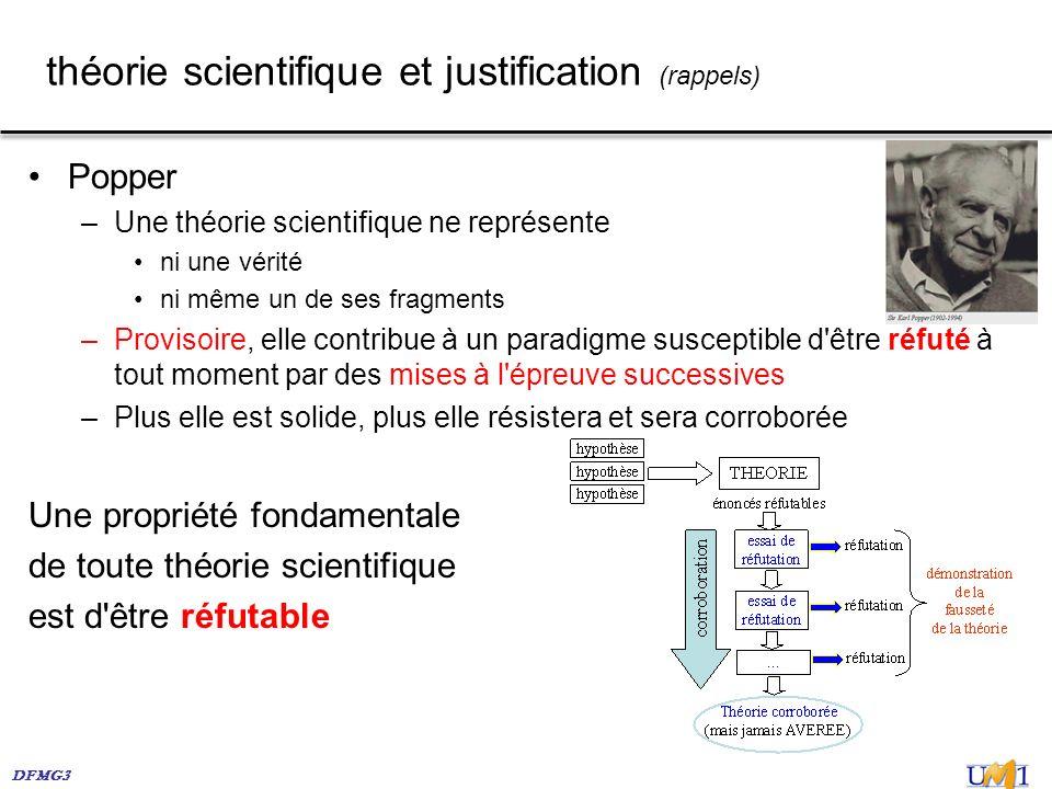 théorie scientifique et justification (rappels)