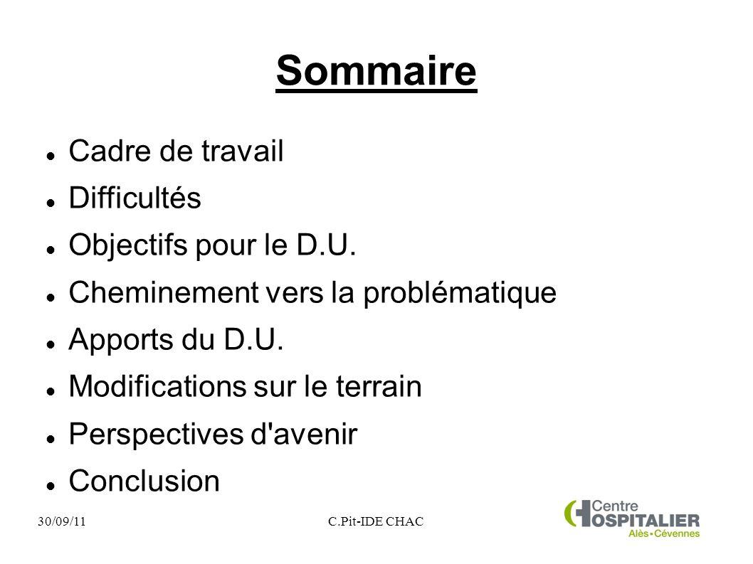 Sommaire Cadre de travail Difficultés Objectifs pour le D.U.