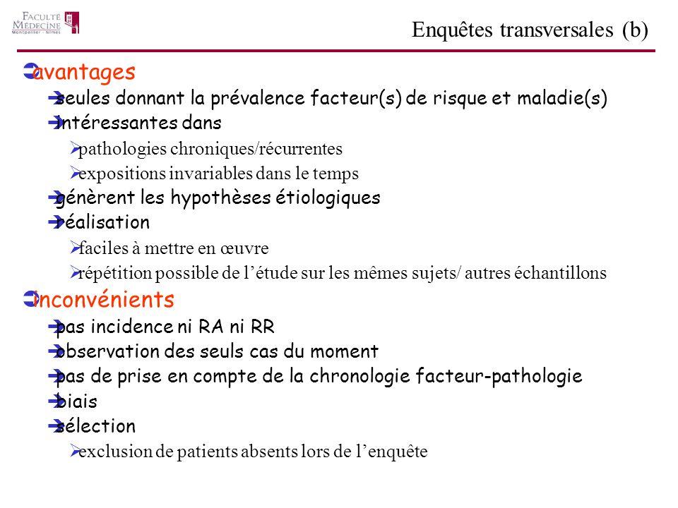 Enquêtes transversales (b)