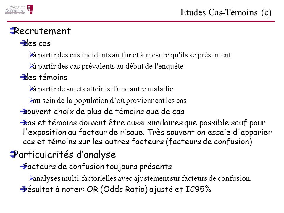 Etudes Cas-Témoins (c)