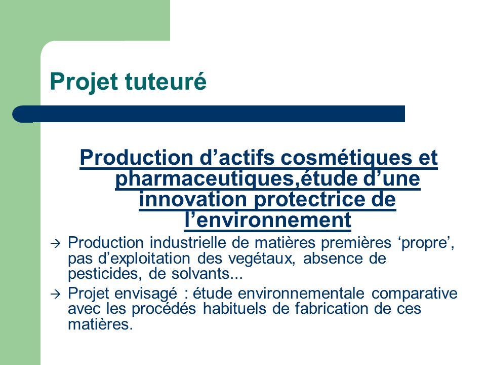 Projet tuteuréProduction d'actifs cosmétiques et pharmaceutiques,étude d'une innovation protectrice de l'environnement.
