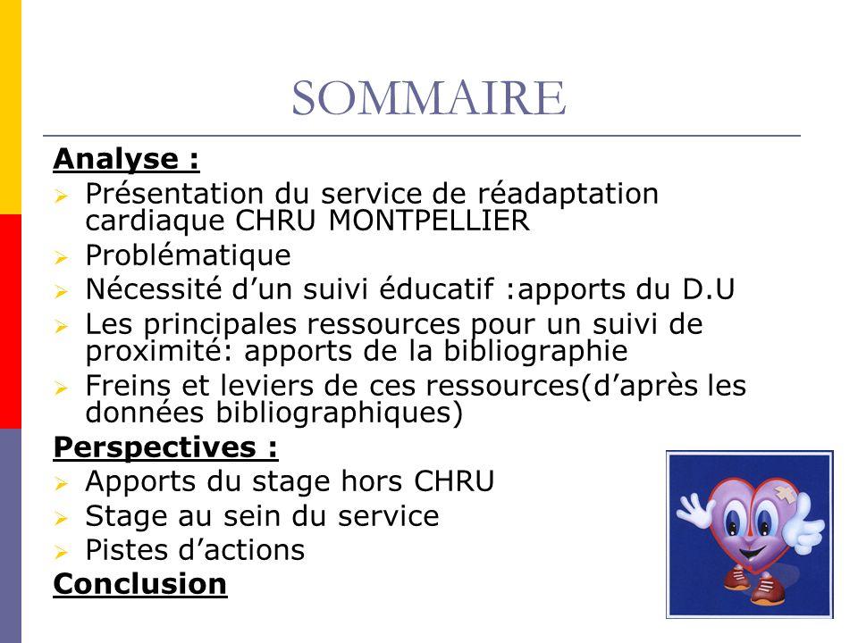 SOMMAIRE Analyse : Présentation du service de réadaptation cardiaque CHRU MONTPELLIER. Problématique.