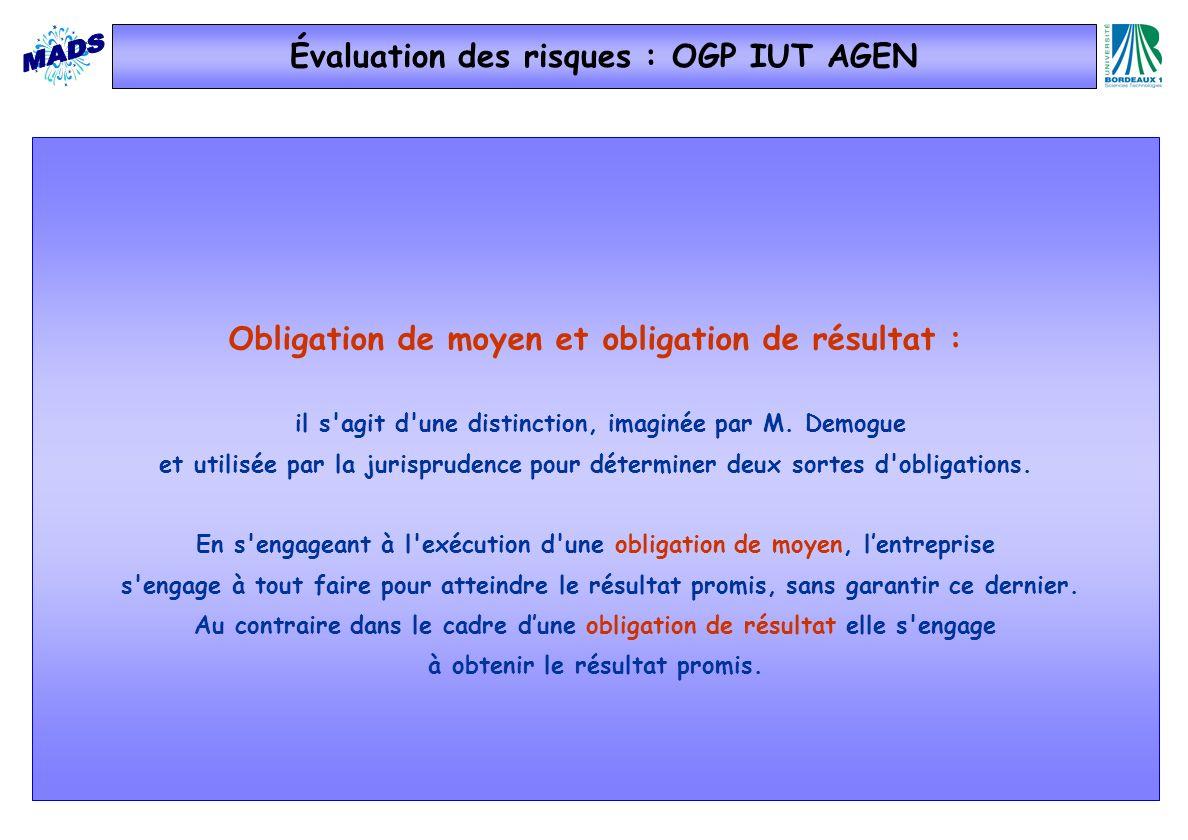 Évaluation des risques : OGP IUT AGEN