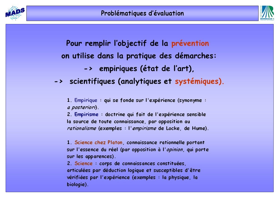 Problématiques d'évaluation