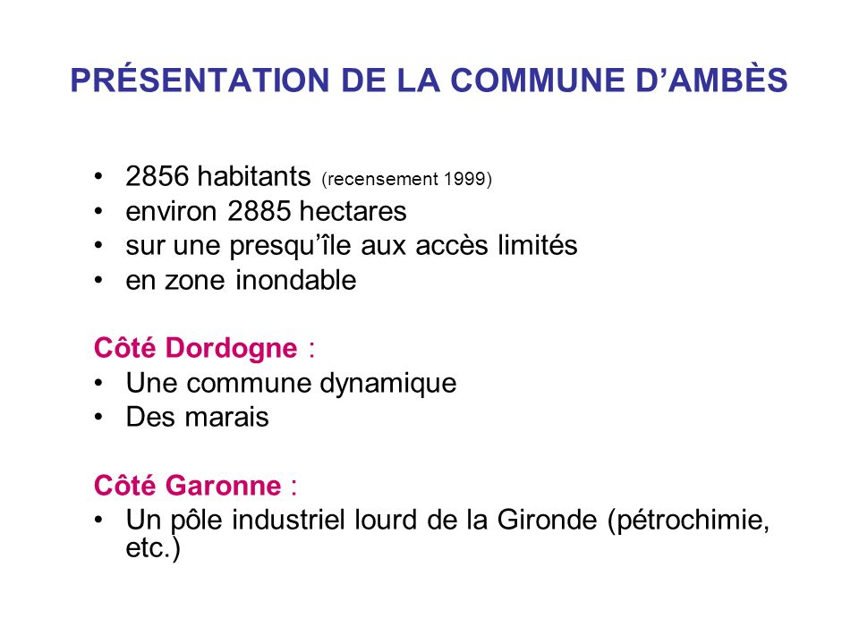 PRÉSENTATION DE LA COMMUNE D'AMBÈS