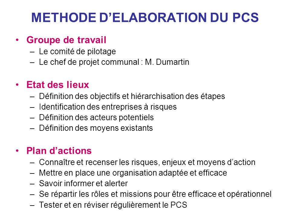METHODE D'ELABORATION DU PCS