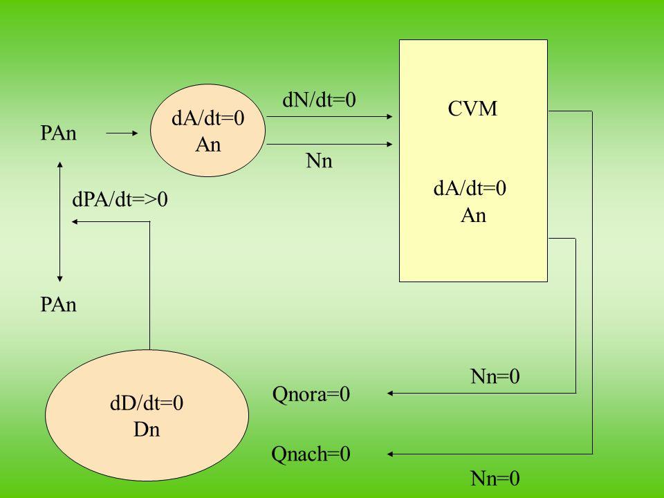 CVM dA/dt=0 An dA/dt=0 An dN/dt=0 PAn Nn dPA/dt=>0 PAn dD/dt=0 Dn Nn=0 Qnora=0 Qnach=0 Nn=0