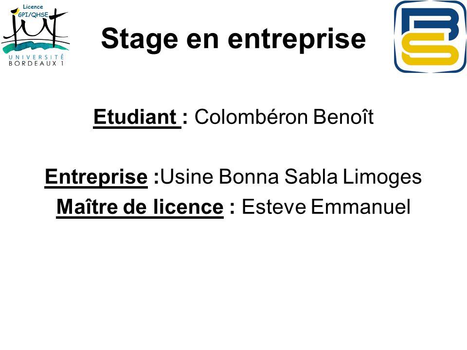 Stage en entreprise Etudiant : Colombéron Benoît