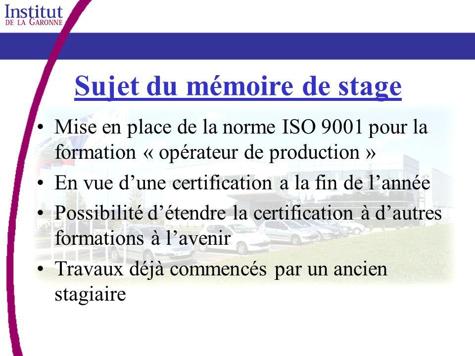 Sujet du mémoire de stage
