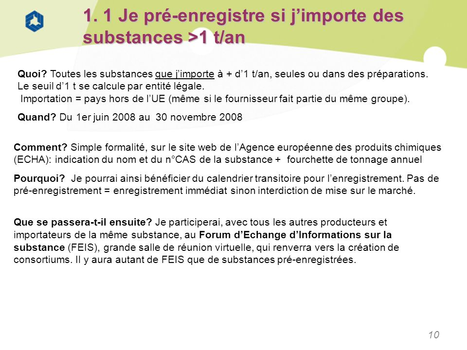 1. 1 Je pré-enregistre si j'importe des substances >1 t/an