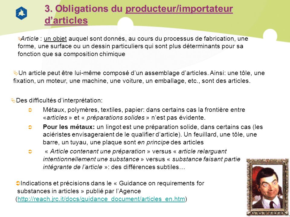 3. Obligations du producteur/importateur d'articles