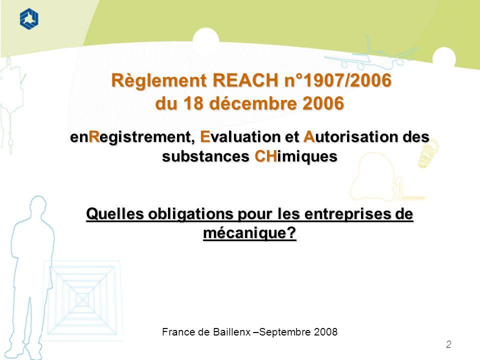 Règlement REACH n°1907/2006 du 18 décembre 2006. enRegistrement, Evaluation et Autorisation des substances CHimiques.