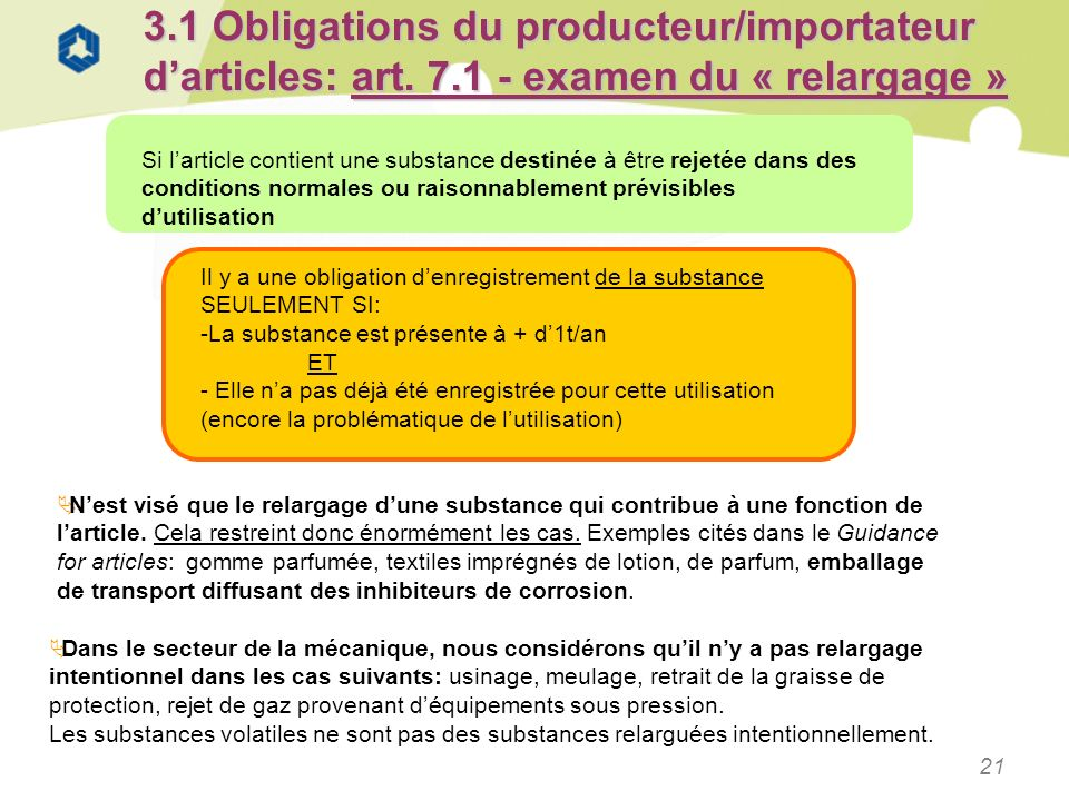 3. 1 Obligations du producteur/importateur d'articles: art. 7
