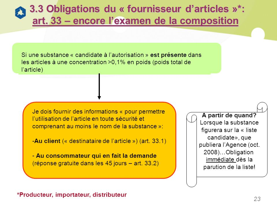 3. 3 Obligations du « fournisseur d'articles ». : art