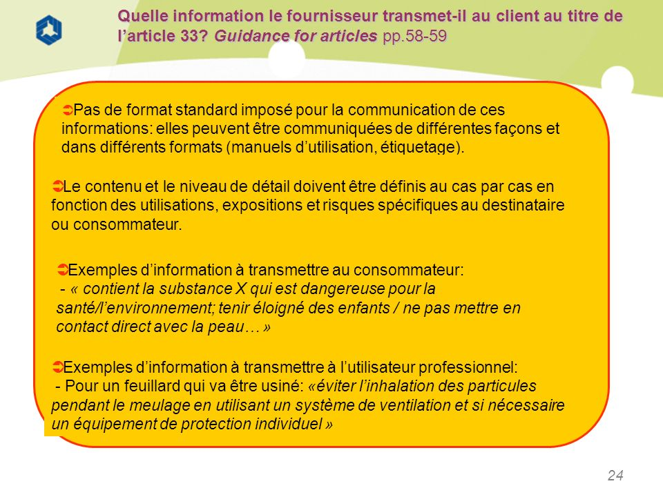 Quelle information le fournisseur transmet-il au client au titre de l'article 33 Guidance for articles pp.58-59