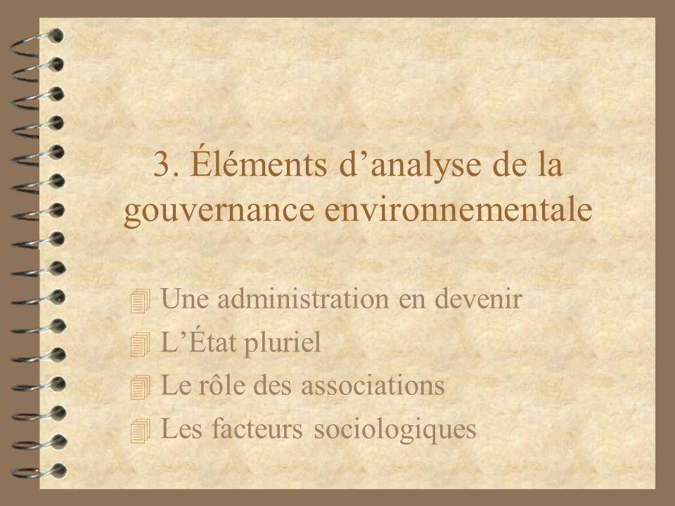 3. Éléments d'analyse de la gouvernance environnementale