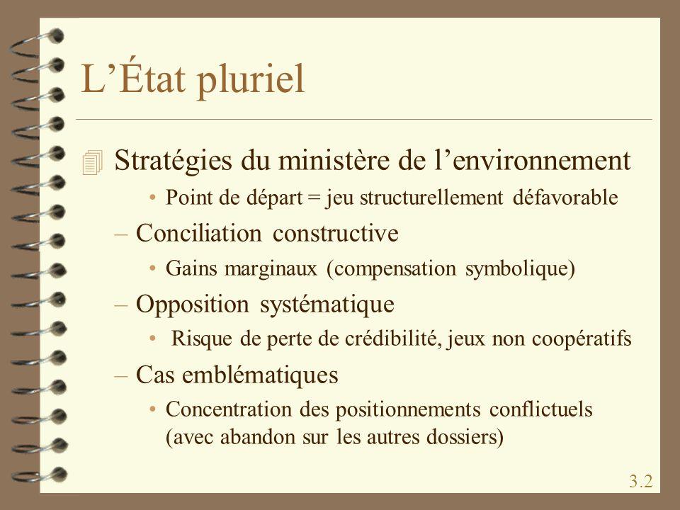 L'État pluriel Stratégies du ministère de l'environnement