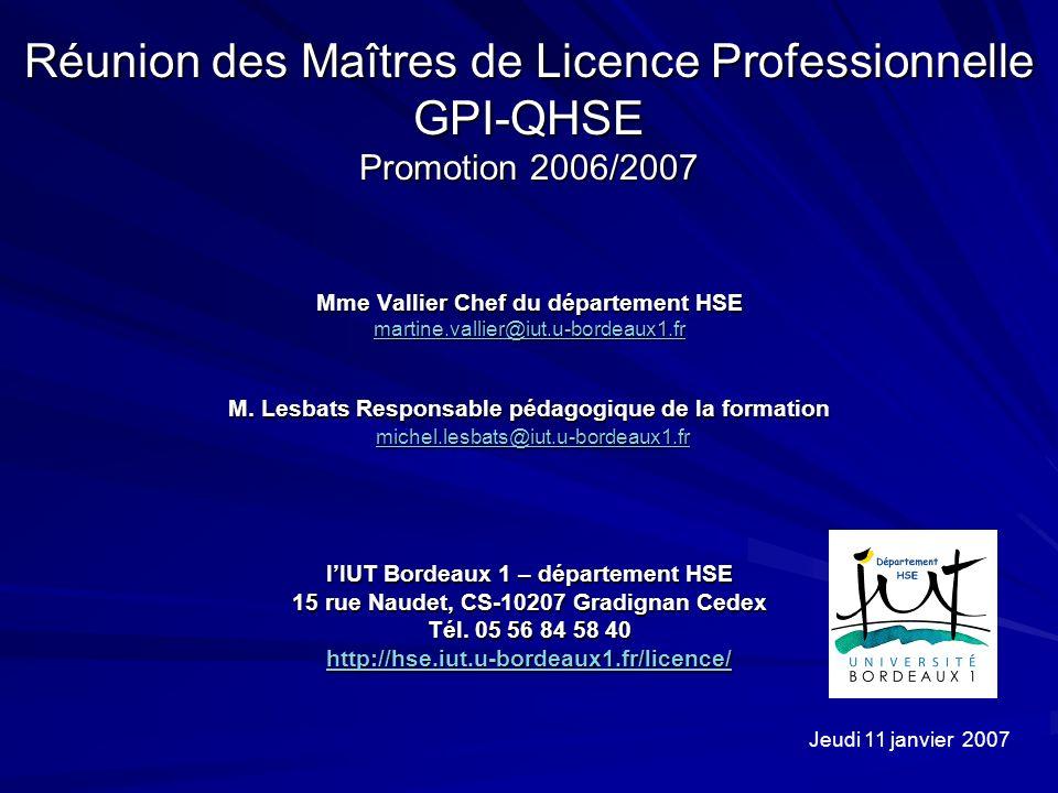 Réunion des Maîtres de Licence Professionnelle GPI-QHSE Promotion 2006/2007