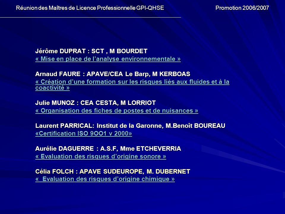 Jérôme DUPRAT : SCT , M BOURDET