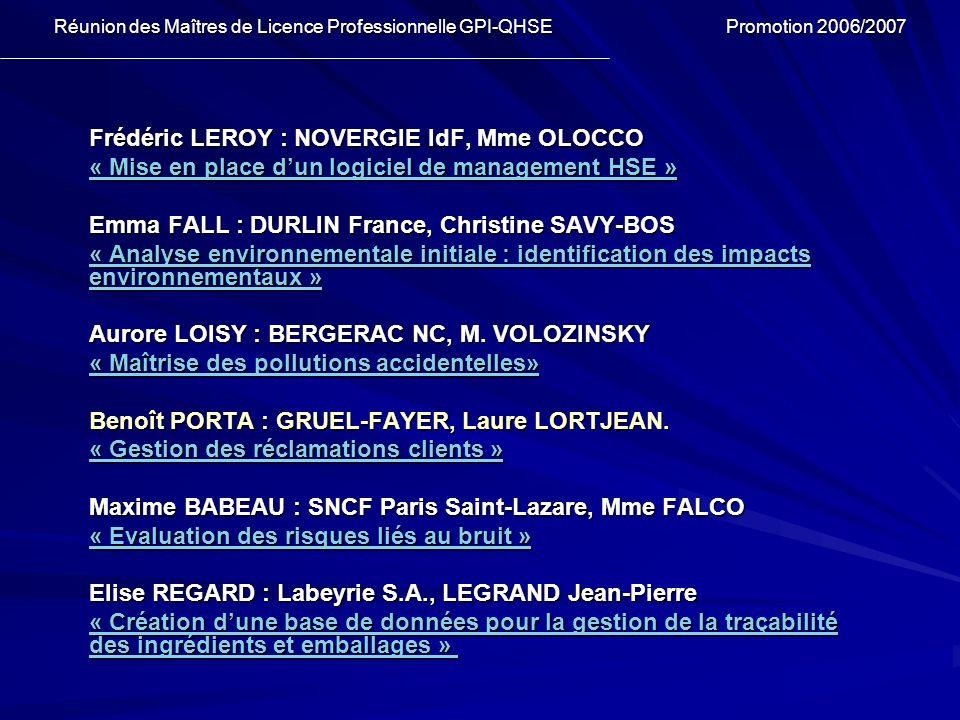 Frédéric LEROY : NOVERGIE IdF, Mme OLOCCO