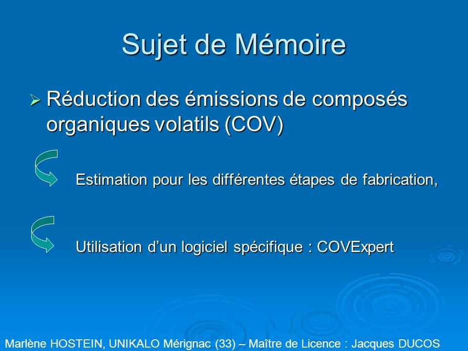 Sujet de Mémoire Réduction des émissions de composés organiques volatils (COV) Estimation pour les différentes étapes de fabrication,