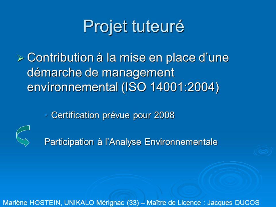 Projet tuteuré Contribution à la mise en place d'une démarche de management environnemental (ISO 14001:2004)
